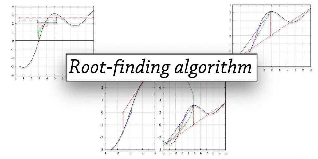 ゼロ点を探す(二分法、挟み撃ち法、Brent法、Newton法、Steffensen法)
